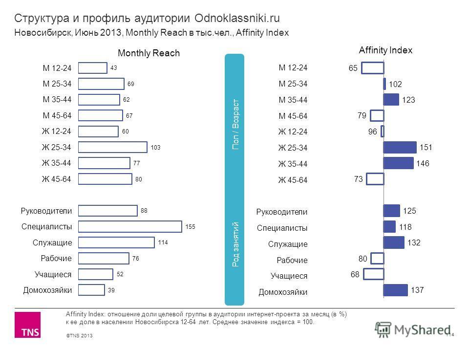 ©TNS 2013 X AXIS LOWER LIMIT UPPER LIMIT CHART TOP Y AXIS LIMIT Структура и профиль аудитории Odnoklassniki.ru 114 Affinity Index: отношение доли целевой группы в аудитории интернет-проекта за месяц (в %) к ее доле в населении Новосибирска 12-64 лет.