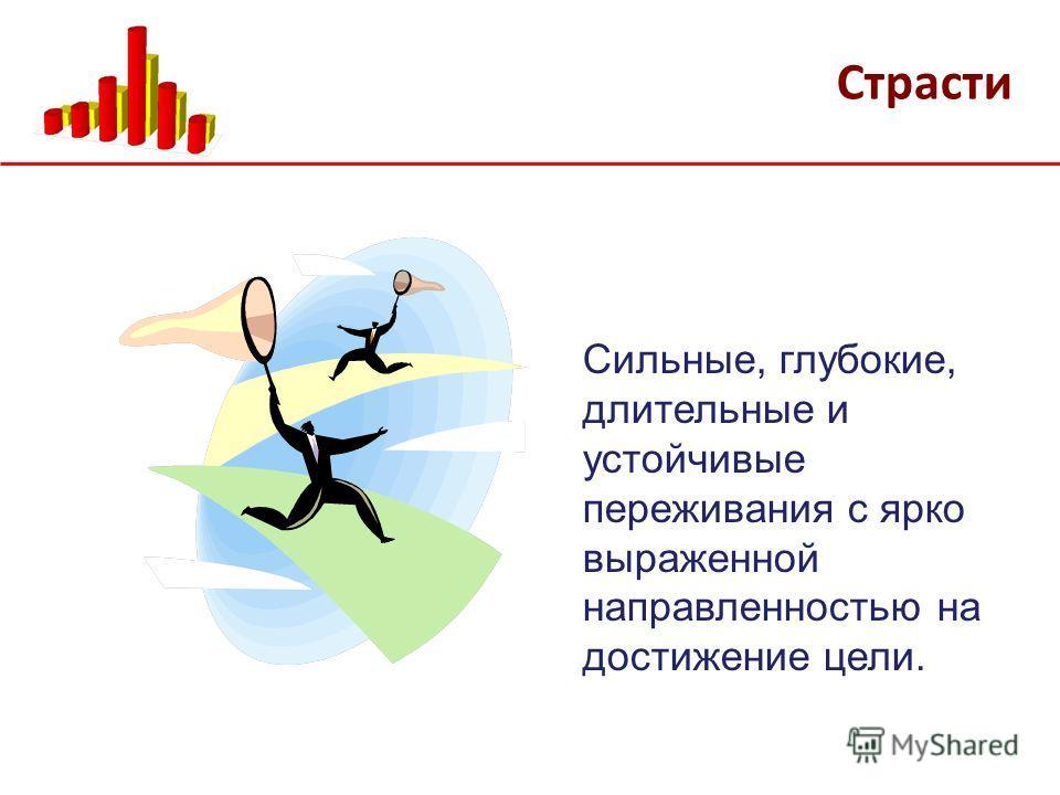 Страсти Сильные, глубокие, длительные и устойчивые переживания с ярко выраженной направленностью на достижение цели.
