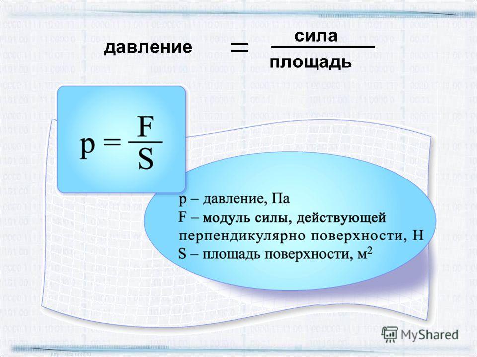 Величина равная отношению силы, действующей перпендикулярно поверхности, к площади этой поверхности, называется давлением. S1S1 S2S2 F F