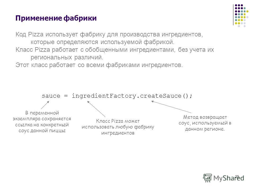 25 Применение фабрики Код Pizza использует фабрику для производства ингредиентов, которые определяются используемой фабрикой. Класс Pizza работает с обобщенными ингредиентами, без учета их региональных различий. Этот класс работает со всеми фабриками