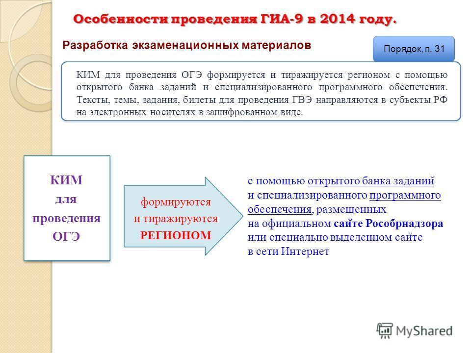 Особенности проведения ГИА-9 в 2014 году. Разработка экзаменационных материалов Порядок, п. 31 КИМ для проведения ОГЭ формируется и тиражируется регионом с помощью открытого банка заданий и специализированного программного обеспечения. Тексты, темы,