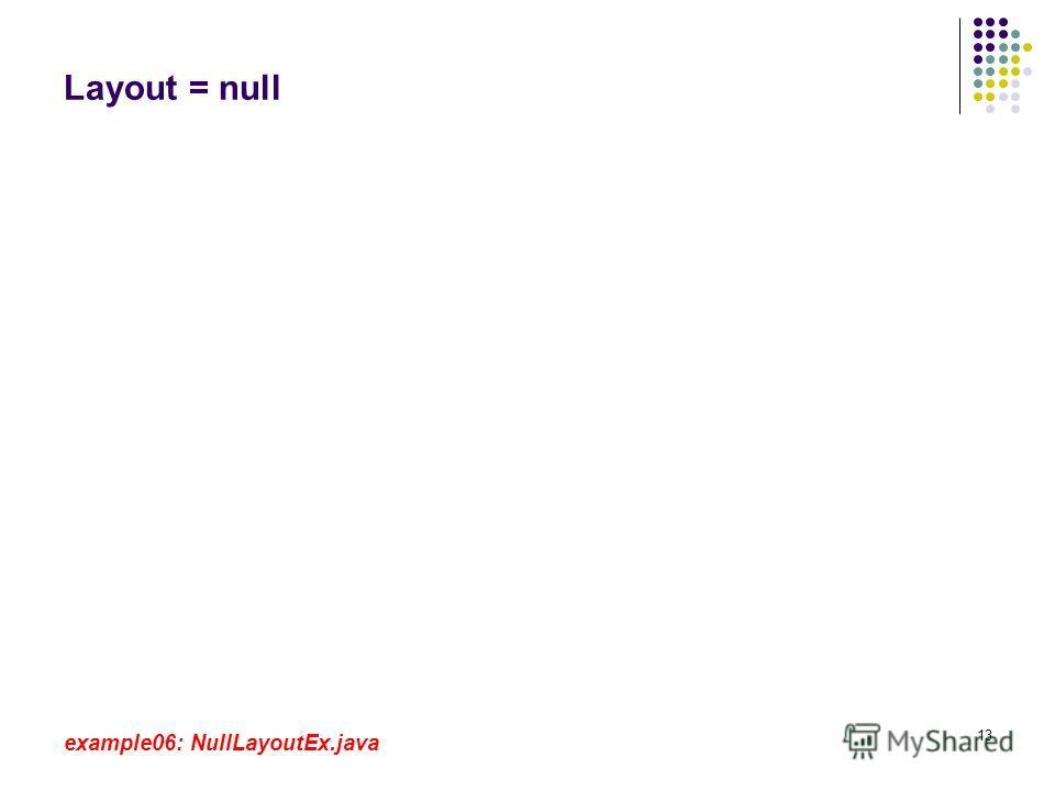 13 Layout = null example06: NullLayoutEx.java