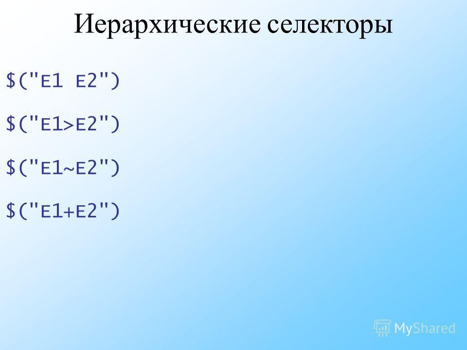 Иерархические селекторы $(E1 E2) $(E1>E2) $(E1~E2) $(E1+E2)