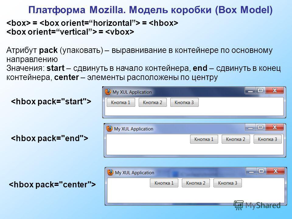 Платформа Mozilla. Модель коробки (Box Model) = = = Атрибут pack (упаковать) – выравнивание в контейнере по основному направлению Значения: start – сдвинуть в начало контейнера, end – сдвинуть в конец контейнера, center – элементы расположены по цент