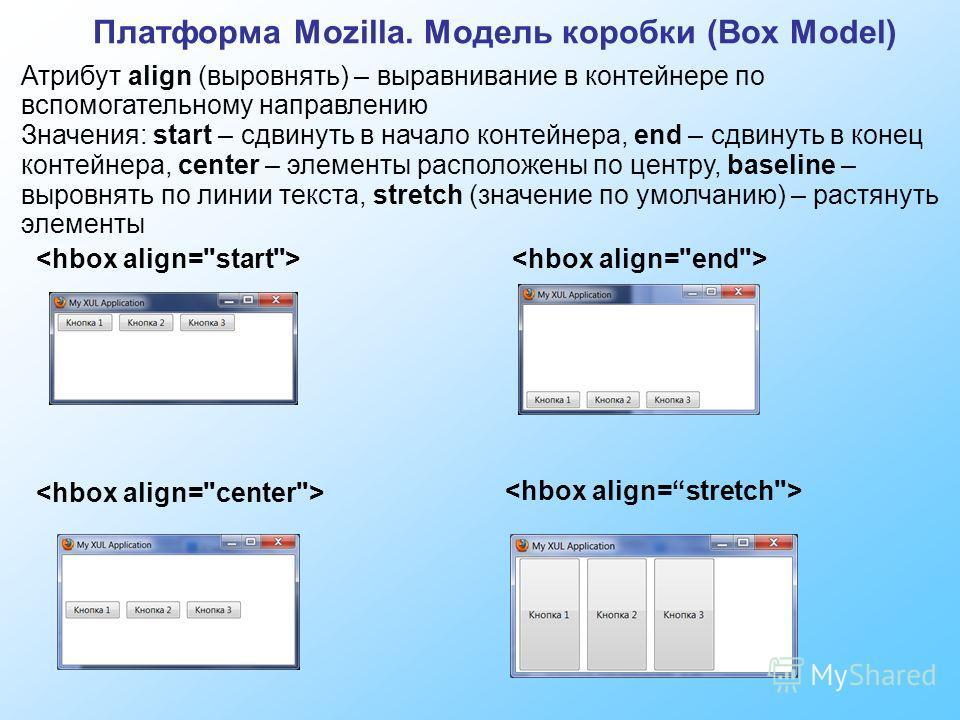 Атрибут align (выровнять) – выравнивание в контейнере по вспомогательному направлению Значения: start – сдвинуть в начало контейнера, end – сдвинуть в конец контейнера, center – элементы расположены по центру, baseline – выровнять по линии текста, st