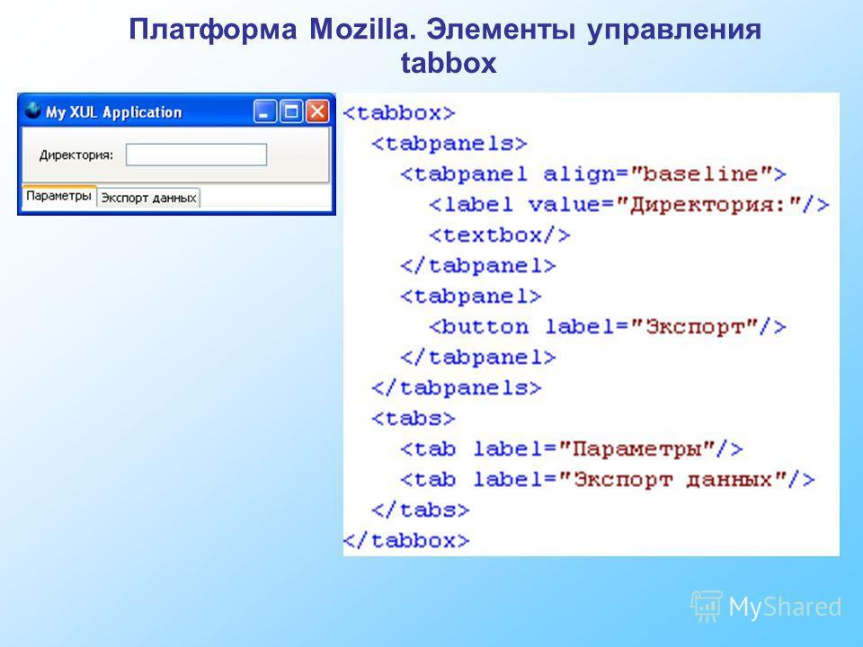 Платформа Mozilla. Элементы управления tabbox