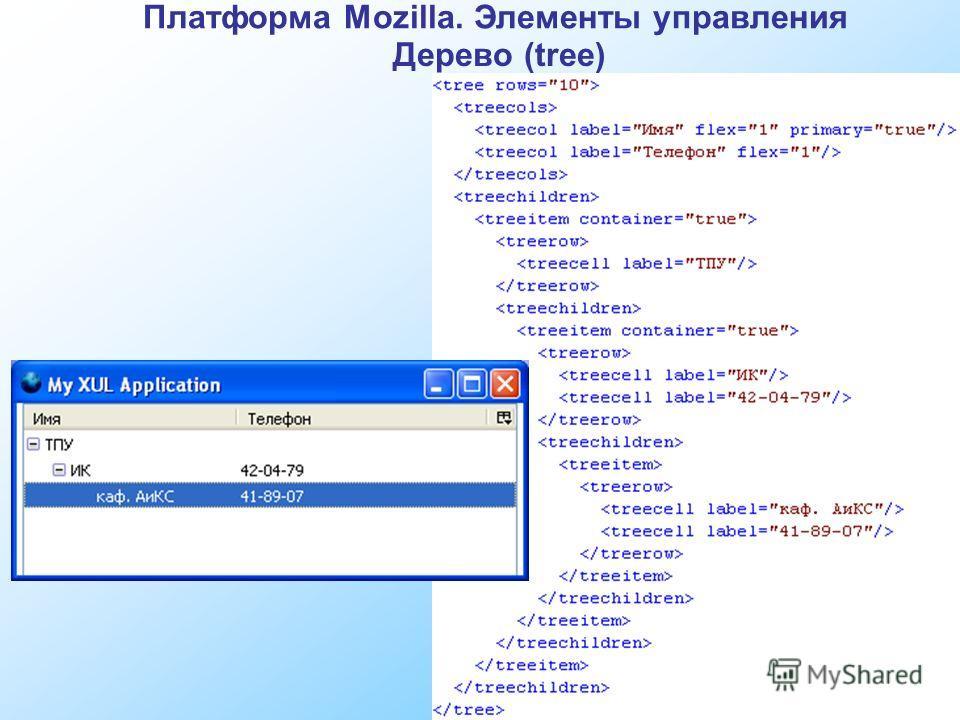 Платформа Mozilla. Элементы управления Дерево (tree)