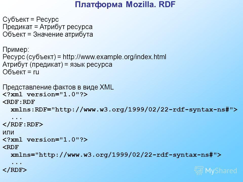 Платформа Mozilla. RDF Субъект = Ресурс Предикат = Атрибут ресурса Объект = Значение атрибута Пример: Ресурс (субъект) = http://www.example.org/index.html Атрибут (предикат) = язык ресурса Объект = ru Представление фактов в виде XML ... или ...