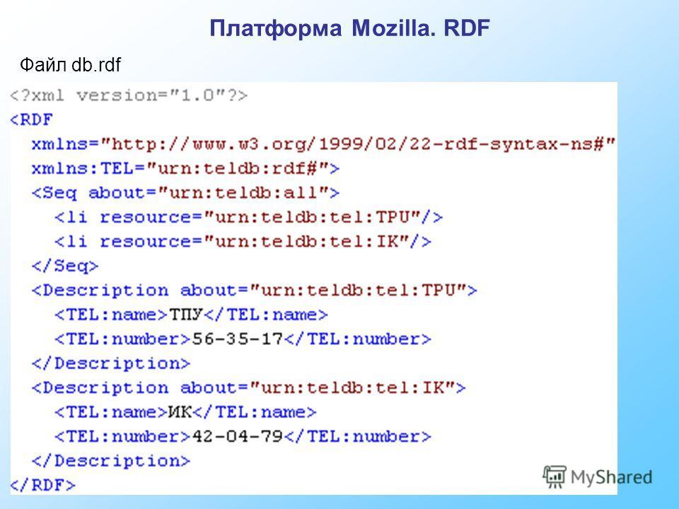 Файл db.rdf Платформа Mozilla. RDF