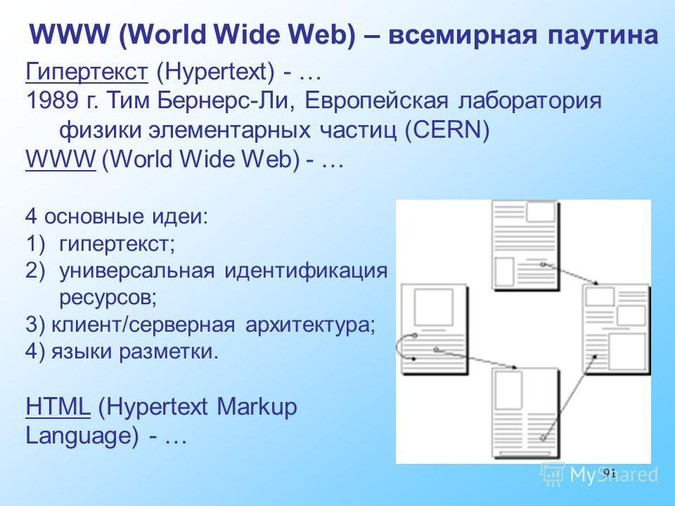 91 WWW (World Wide Web) – всемирная паутина Гипертекст (Hypertext) - … 1989 г. Тим Бернерс-Ли, Европейская лаборатория физики элементарных частиц (CERN) WWW (World Wide Web) - … 4 основные идеи: 1)гипертекст; 2)универсальная идентификация ресурсов; 3