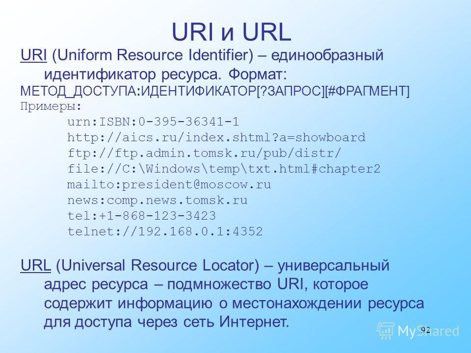 92 URI (Uniform Resource Identifier) – единообразный идентификатор ресурса. Формат: МЕТОД_ДОСТУПА:ИДЕНТИФИКАТОР[?ЗАПРОС][#ФРАГМЕНТ] Примеры: urn:ISBN:0-395-36341-1 http://aics.ru/index.shtml?a=showboard ftp://ftp.admin.tomsk.ru/pub/distr/ file://C:\W