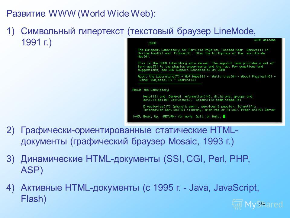 94 Развитие WWW (World Wide Web): 1)Символьный гипертекст (текстовый браузер LineMode, 1991 г.) 2)Графически-ориентированные статические HTML- документы (графический браузер Mosaic, 1993 г.) 3)Динамические HTML-документы (SSI, CGI, Perl, PHP, ASP) 4)
