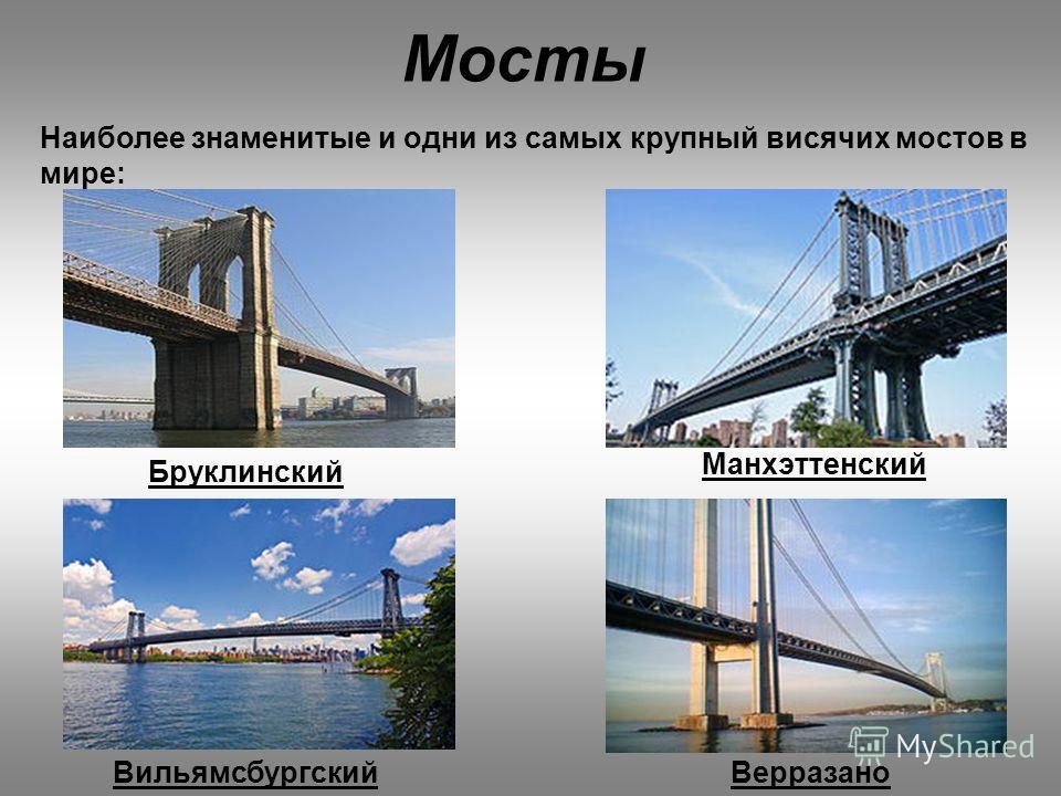Мосты Наиболее знаменитые и одни из самых крупный висячих мостов в мире: Верразано Манхэттенский Вильямсбургский Бруклинский