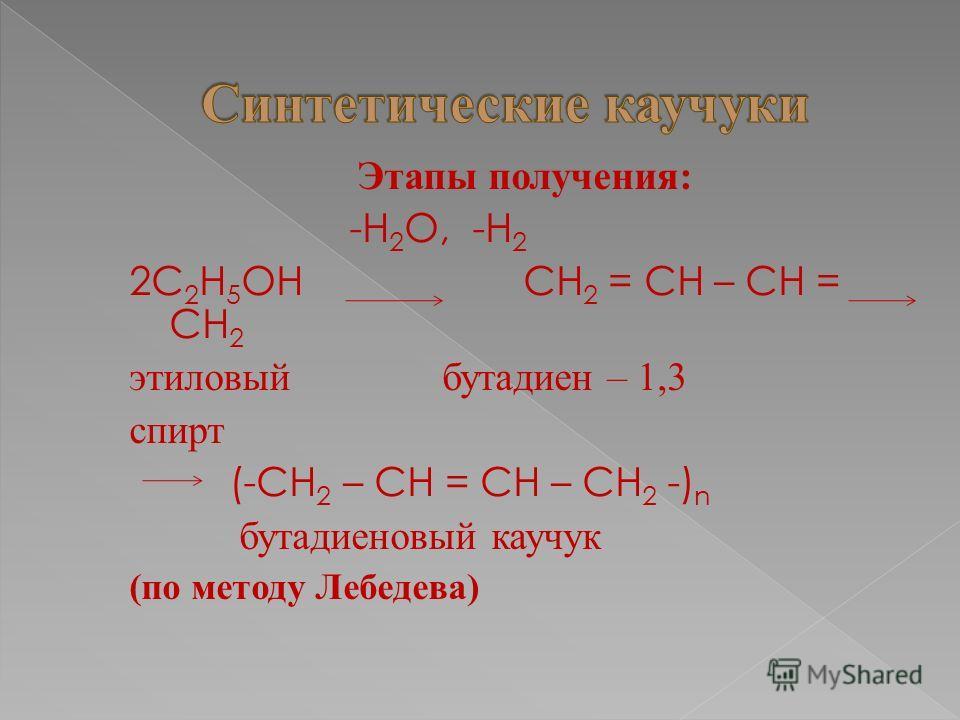 Этапы получения: -Н 2 О, -Н 2 2С 2 Н 5 ОН СН 2 = СН – СН = СН 2 этиловый бутадиен – 1,3 спирт (-СН 2 – СН = СН – СН 2 -) n бутадиеновый каучук (по методу Лебедева)