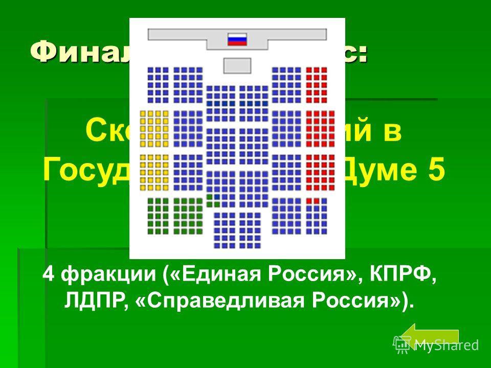 Финальный вопрос: Сколько фракций в Государственной Думе 5 созыва? 4 фракции («Единая Россия», КПРФ, ЛДПР, «Справедливая Россия»).