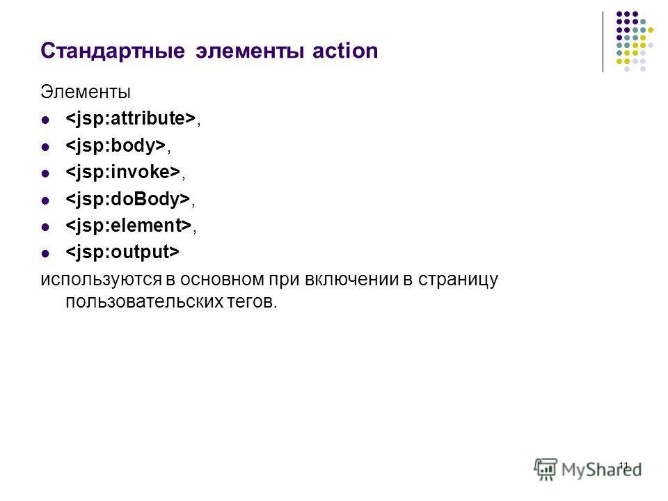 11 Стандартные элементы action Элементы, используются в основном при включении в страницу пользовательских тегов.