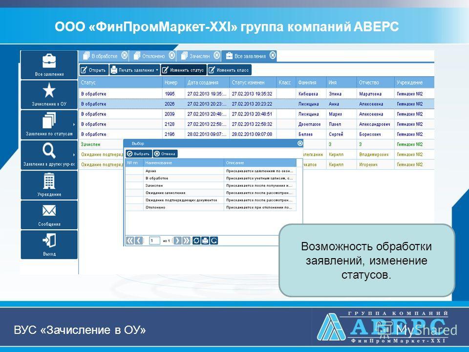 ООО «ФинПромМаркет-XXI» группа компаний АВЕРС ВУС «Зачисление в ОУ» Возможность обработки заявлений, изменение статусов.