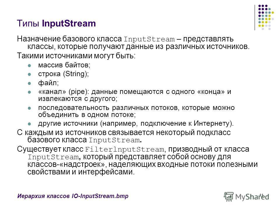 11 Типы InputStream Назначение базового класса InputStream – представлять классы, которые получают данные из различных источников. Такими источниками могут быть: массив байтов; строка (String); файл; «канал» (pipe): данные помещаются с одного «конца»