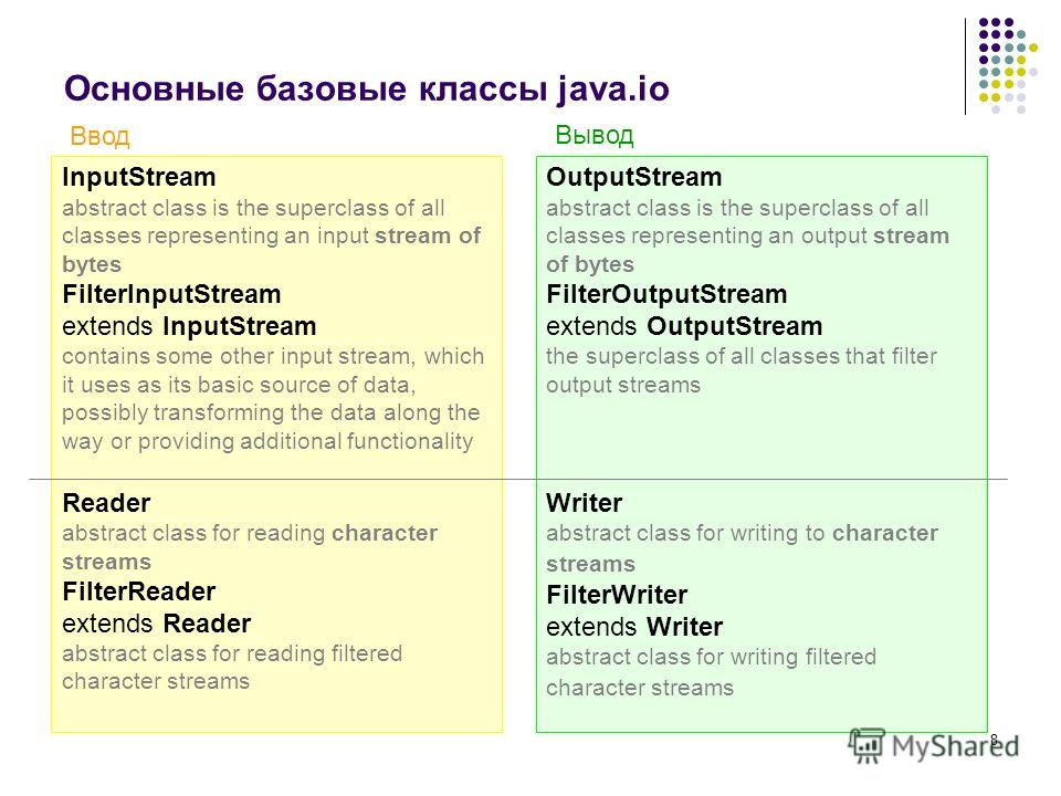 8 Основные базовые классы java.io InputStream abstract class is the superclass of all classes representing an input stream of bytes FilterInputStream extends InputStream contains some other input stream, which it uses as its basic source of data, pos