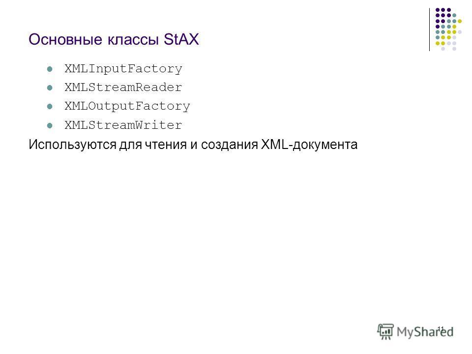 11 Основные классы StAX XMLInputFactory XMLStreamReader XMLOutputFactory XMLStreamWriter Используются для чтения и создания XML-документа