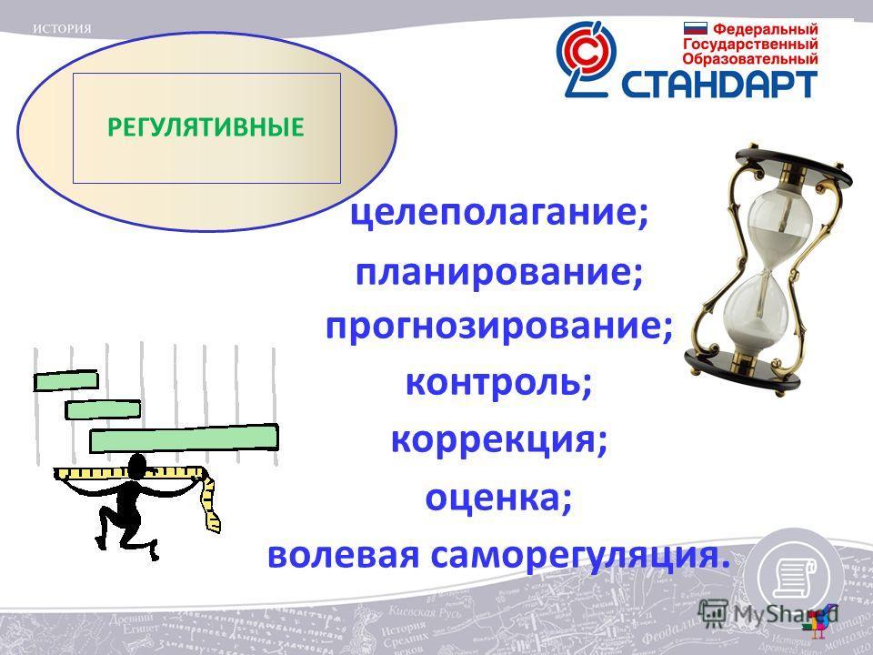 РЕГУЛЯТИВНЫЕ целеполагание; планирование; прогнозирование; контроль; коррекция; оценка; волевая саморегуляция.