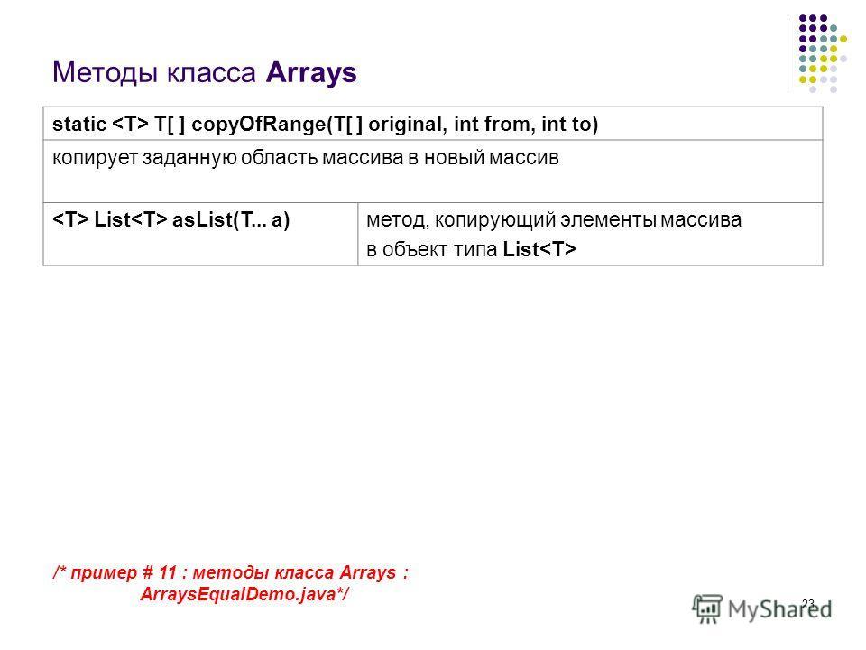 23 Методы класса Arrays static T[ ] copyOfRange(T[ ] original, int from, int to) копирует заданную область массива в новый массив List asList(T... a)метод, копирующий элементы массива в объект типа List /* пример # 11 : методы класса Arrays : ArraysE