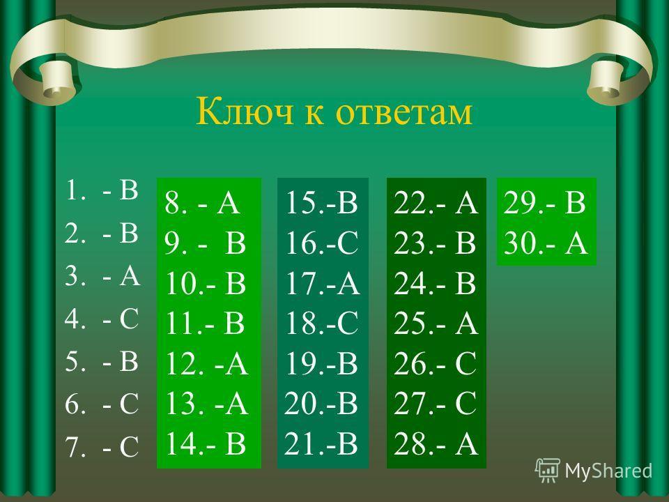 Ключ к ответам 1.- В 2.- В 3.- А 4.- С 5.- В 6.- С 7.- С 8. - А 9. - В 10.- В 11.- В 12. -А 13. -А 14.- В 15.-В 16.-С 17.-А 18.-С 19.-В 20.-В 21.-В 22.- А 23.- В 24.- В 25.- А 26.- С 27.- С 28.- А 29.- В 30.- А