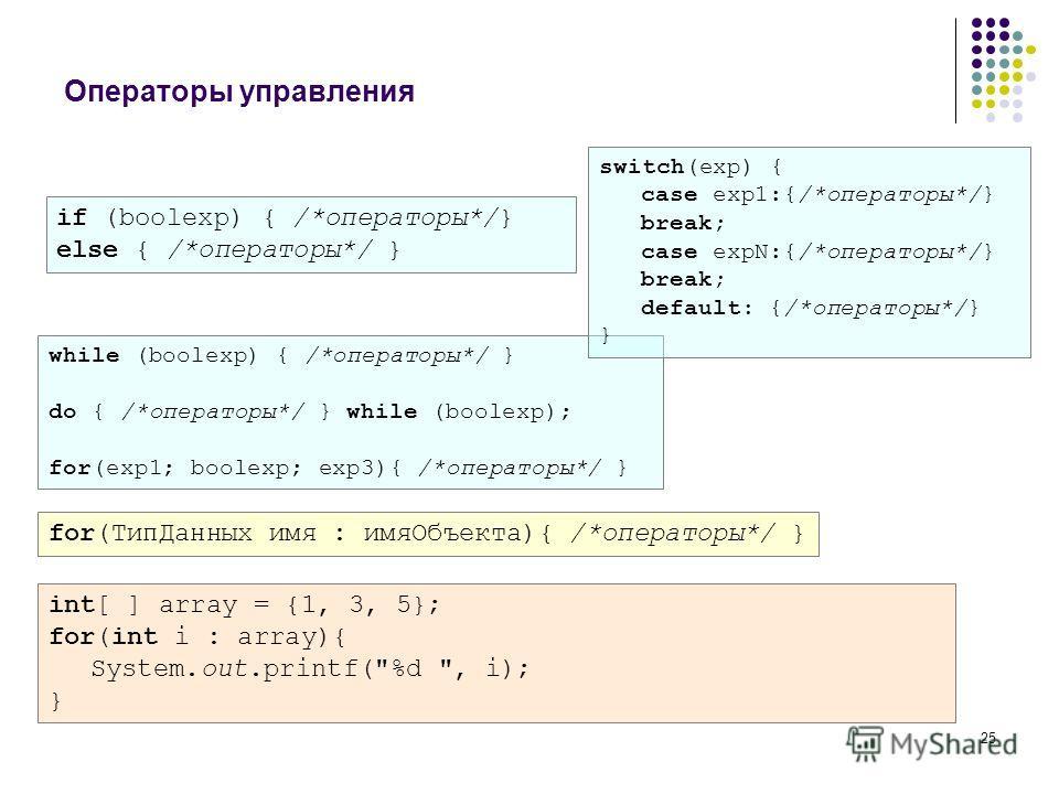 25 Операторы управления if (boolexp) { /*операторы*/} else { /*операторы*/ } while (boolexp) { /*операторы*/ } do { /*операторы*/ } while (boolexp); for(exp1; boolexp; exp3){ /*операторы*/ } for(ТипДанных имя : имяОбъекта){ /*операторы*/ } int[ ] arr