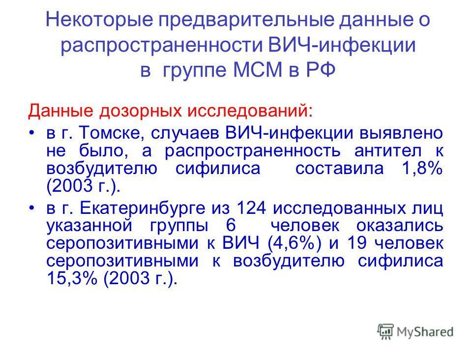 Некоторые предварительные данные о распространенности ВИЧ-инфекции в группе МСМ в РФ Данные дозорных исследований: в г. Томске, случаев ВИЧ-инфекции выявлено не было, а распространенность антител к возбудителю сифилиса составила 1,8% (2003 г.). в г.