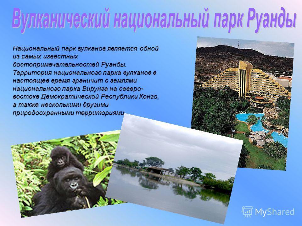 Национальный парк вулканов является одной из самых известных достопримечательностей Руанды. Территория национального парка вулканов в настоящее время граничит с землями национального парка Вирунга на северо- востоке Демократической Республики Конго,