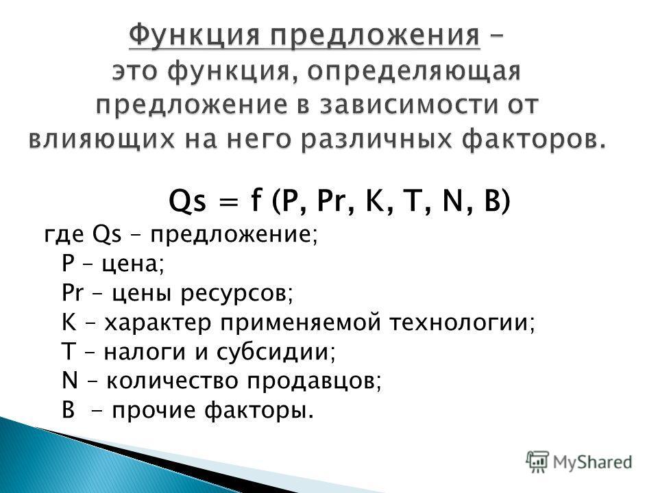 Qs = f (P, Pr, K, T, N, B) где Qs – предложение; P – цена; Pr – цены ресурсов; K – характер применяемой технологии; T – налоги и субсидии; N – количество продавцов; B - прочие факторы.