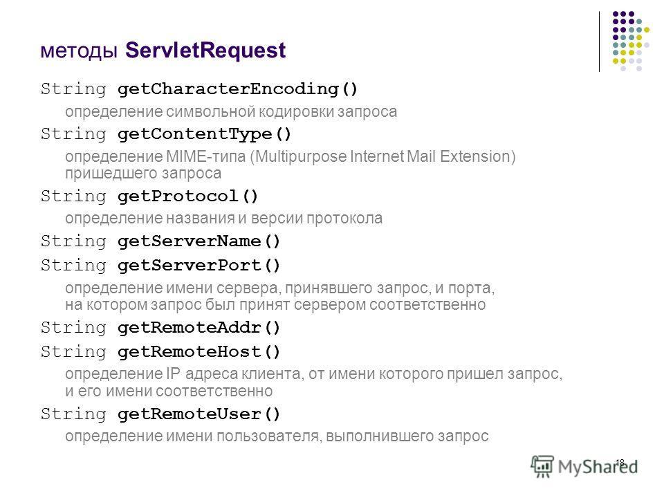 18 методы ServletRequest String getCharacterEncoding() определение символьной кодировки запроса String getContentType() определение MIME-типа (Multipurpose Internet Mail Extension) пришедшего запроса String getProtocol() определение названия и версии