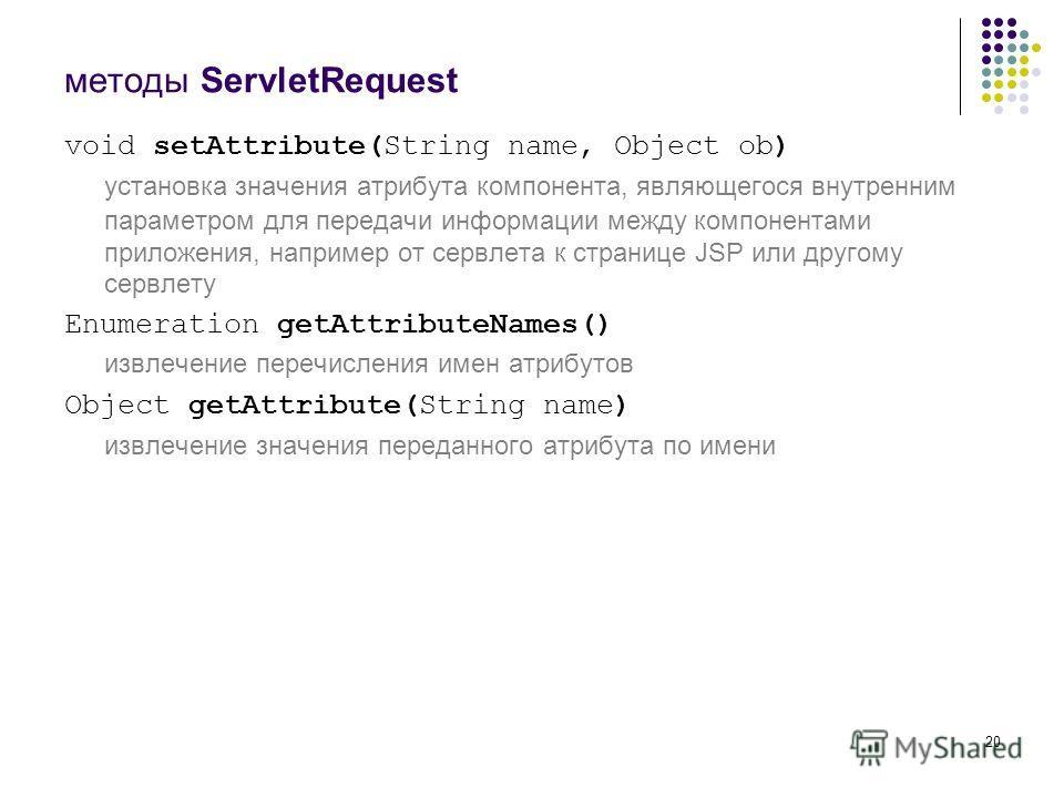 20 методы ServletRequest void setAttribute(String name, Object ob) установка значения атрибута компонента, являющегося внутренним параметром для передачи информации между компонентами приложения, например от сервлета к странице JSP или другому сервле