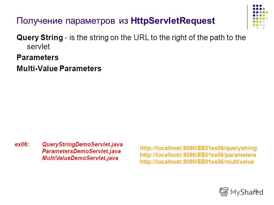 26 Получение параметров из HttpServletRequest Query String - is the string on the URL to the right of the path to the servlet Parameters Multi-Value Parameters ex06: QueryStringDemoServlet.java ParametersDemoServlet.java MultiValueDemoServlet.java ht