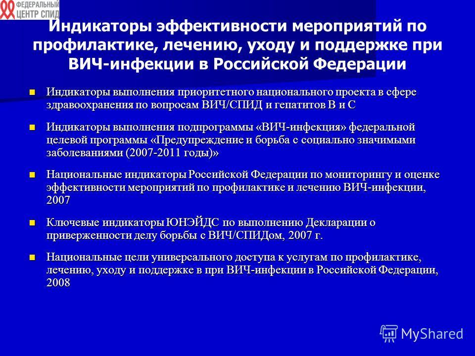 Индикаторы эффективности мероприятий по профилактике, лечению, уходу и поддержке при ВИЧ-инфекции в Российской Федерации Индикаторы выполнения приоритетного национального проекта в сфере здравоохранения по вопросам ВИЧ/СПИД и гепатитов В и С Индикато
