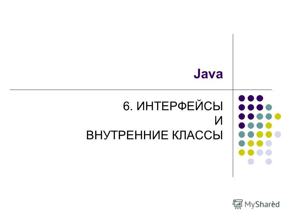 1 Java 6. ИНТЕРФЕЙСЫ И ВНУТРЕННИЕ КЛАССЫ
