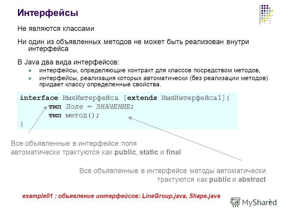 2 Интерфейсы Не являются классами Ни один из объявленных методов не может быть реализован внутри интерфейса В Java два вида интерфейсов: интерфейсы, определяющие контракт для классов посредством методов, интерфейсы, реализация которых автоматически (