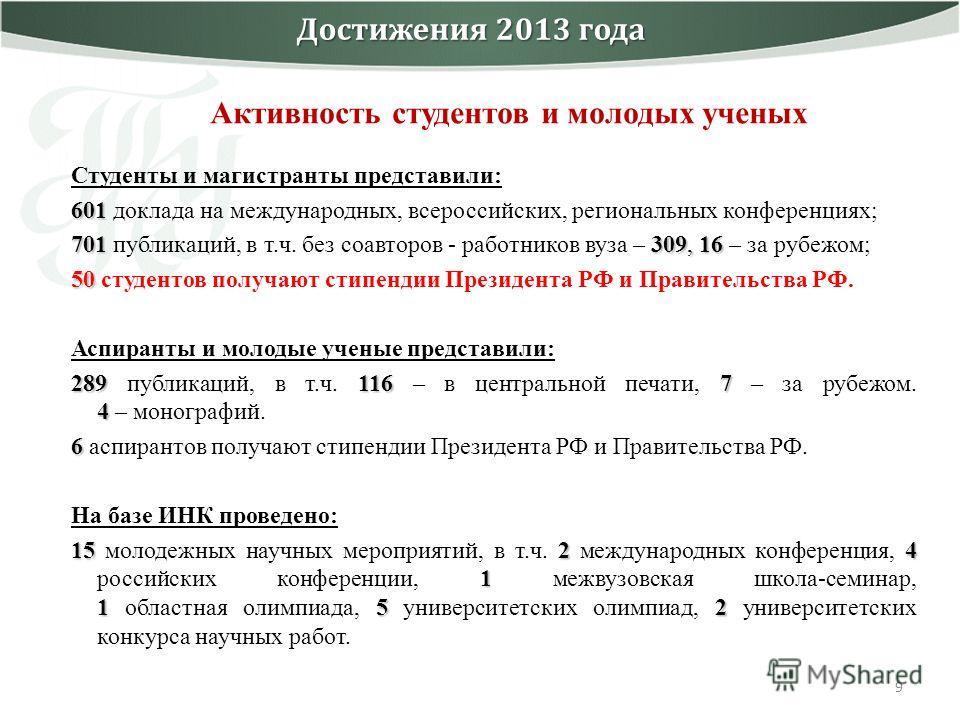 9 Достижения 2013 года Студенты и магистранты представили: 601 601 доклада на международных, всероссийских, региональных конференциях; 701 309, 16 701 публикаций, в т.ч. без соавторов - работников вуза – 309, 16 – за рубежом; 50 50 студентов получают