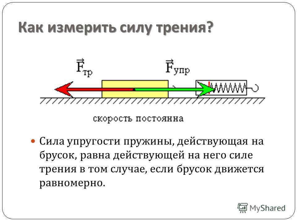 Как измерить силу трения ? Сила упругости пружины, действующая на брусок, равна действующей на него силе трения в том случае, если брусок движется равномерно.