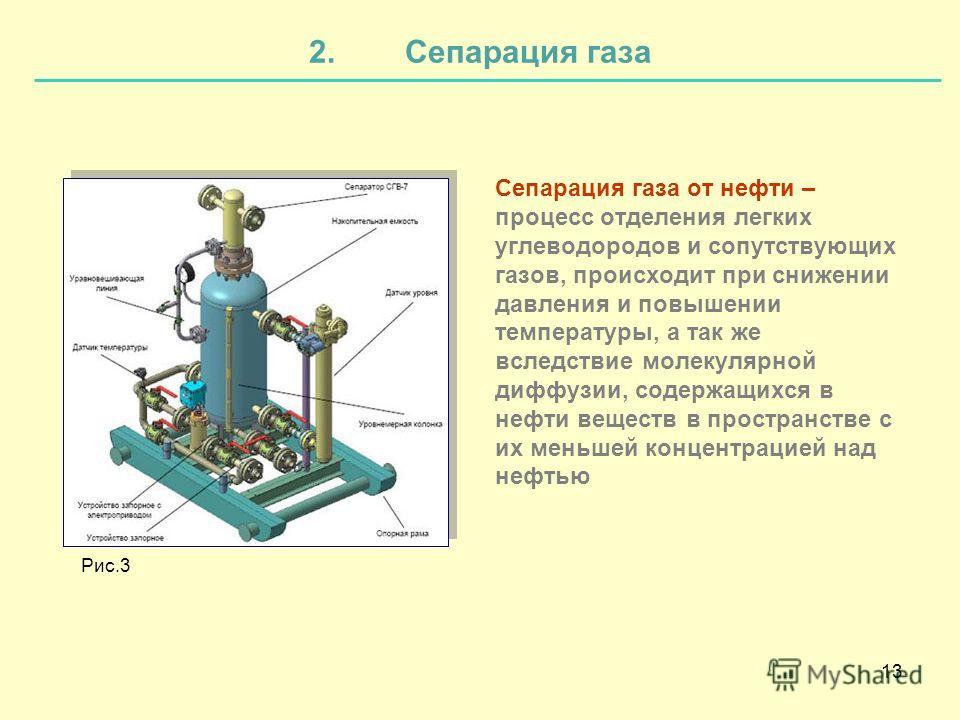 13 2.Сепарация газа Сепарация газа от нефти – процесс отделения легких углеводородов и сопутствующих газов, происходит при снижении давления и повышении температуры, а так же вследствие молекулярной диффузии, содержащихся в нефти веществ в пространст