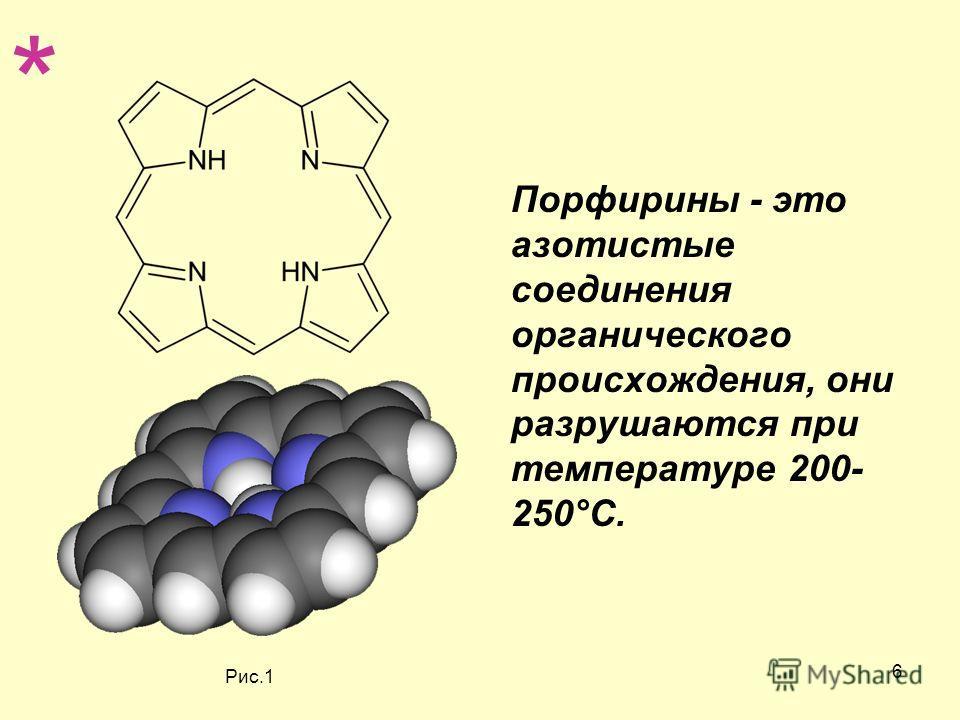 6 Порфирины - это азотистые соединения органического происхождения, они разрушаются при температуре 200- 250°С. * Рис.1