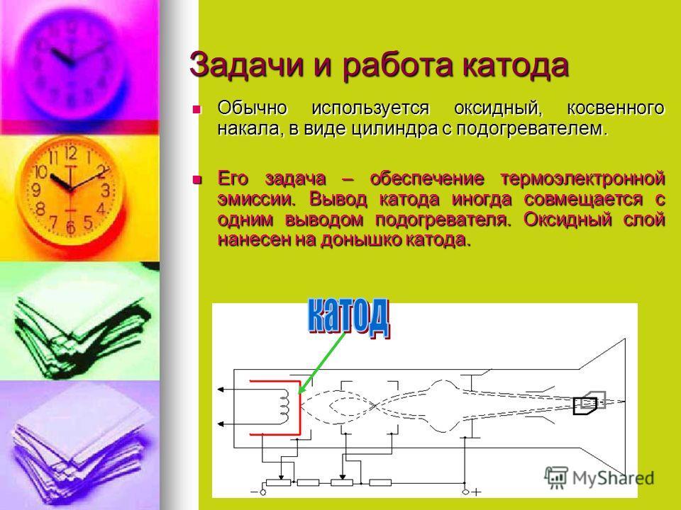 Задачи и работа катода Обычно используется оксидный, косвенного накала, в виде цилиндра с подогревателем. Обычно используется оксидный, косвенного накала, в виде цилиндра с подогревателем. Его задача – обеспечение термоэлектронной эмиссии. Вывод като