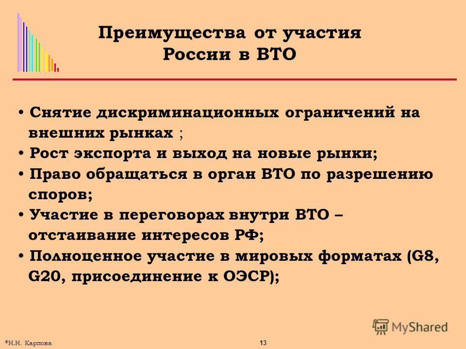 13 © Н.Н. Карпова Преимущества от участия России в ВТО Снятие дискриминационных ограничений на внешних рынках ; Рост экспорта и выход на новые рынки; Право обращаться в орган ВТО по разрешению споров; Участие в переговорах внутри ВТО – отстаивание ин