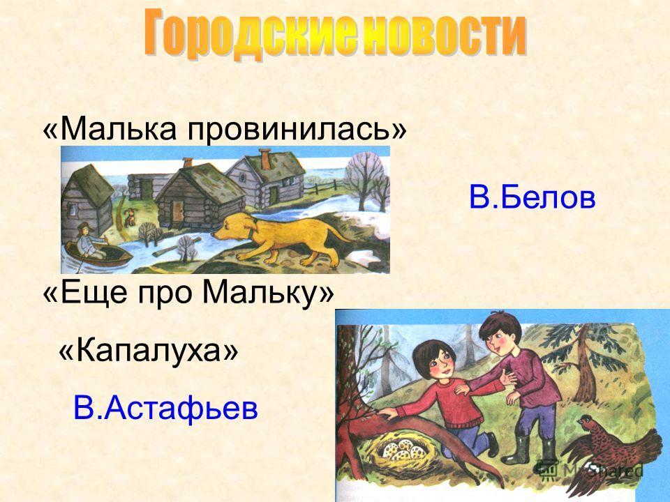 В.Белов «Малька провинилась» «Еще про Мальку» В.Астафьев «Капалуха»