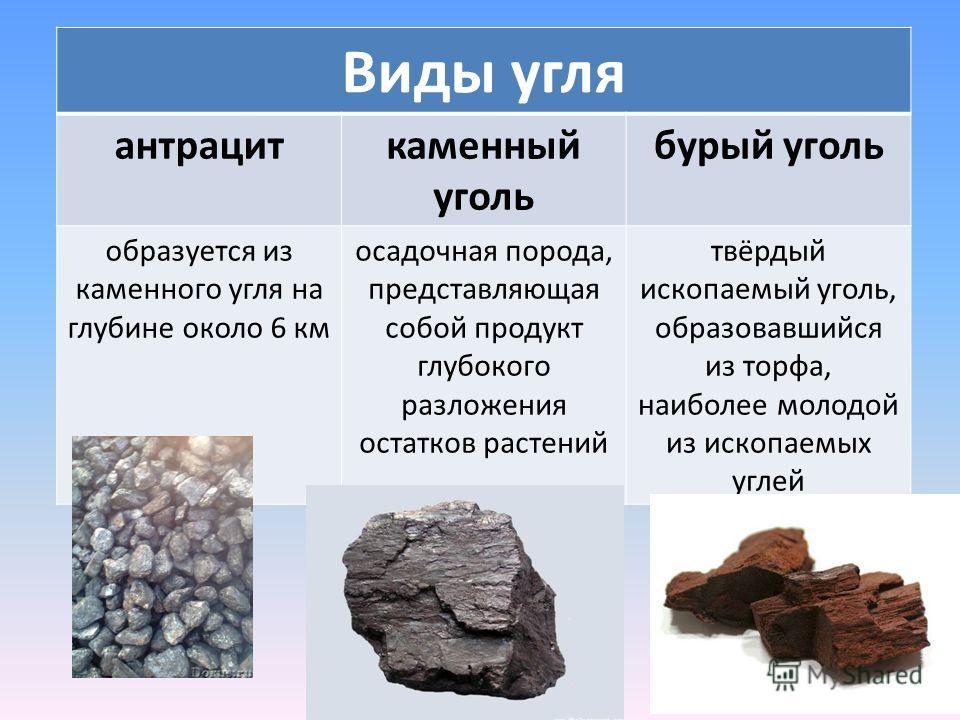 Виды угля антрациткаменный уголь бурый уголь образуется из каменного угля на глубине около 6 км осадочная порода, представляющая собой продукт глубокого разложения остатков растений твёрдый ископаемый уголь, образовавшийся из торфа, наиболее молодой