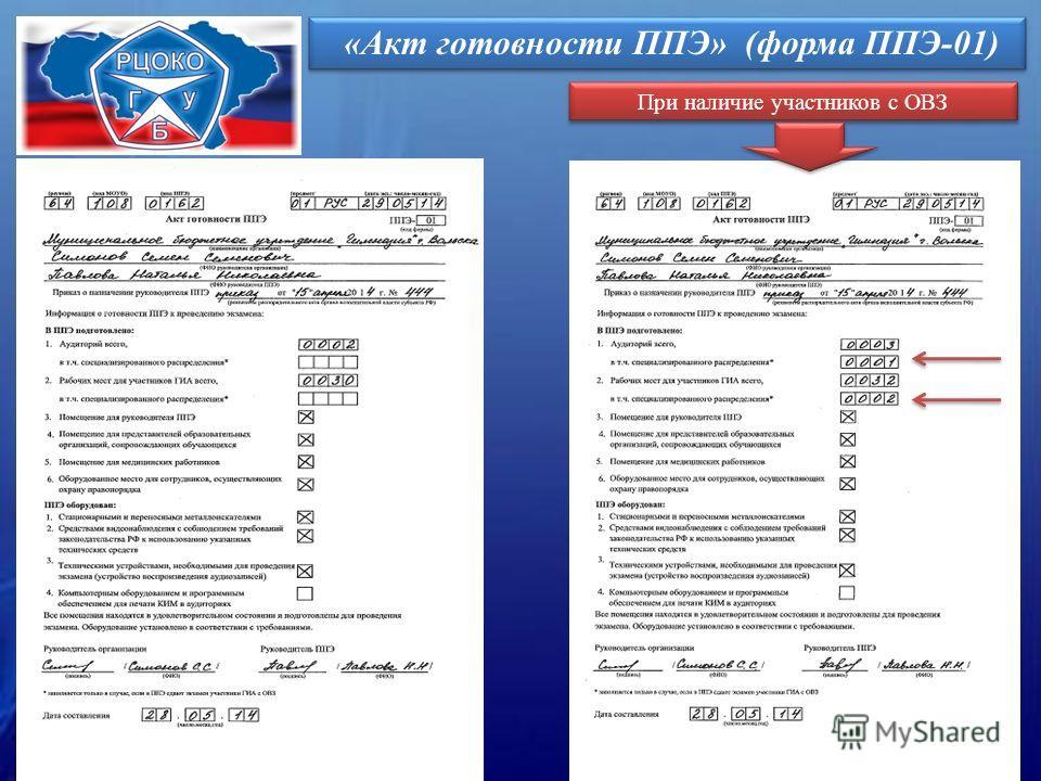 «Акт готовности ППЭ» (форма ППЭ-01) При наличие участников с ОВЗ