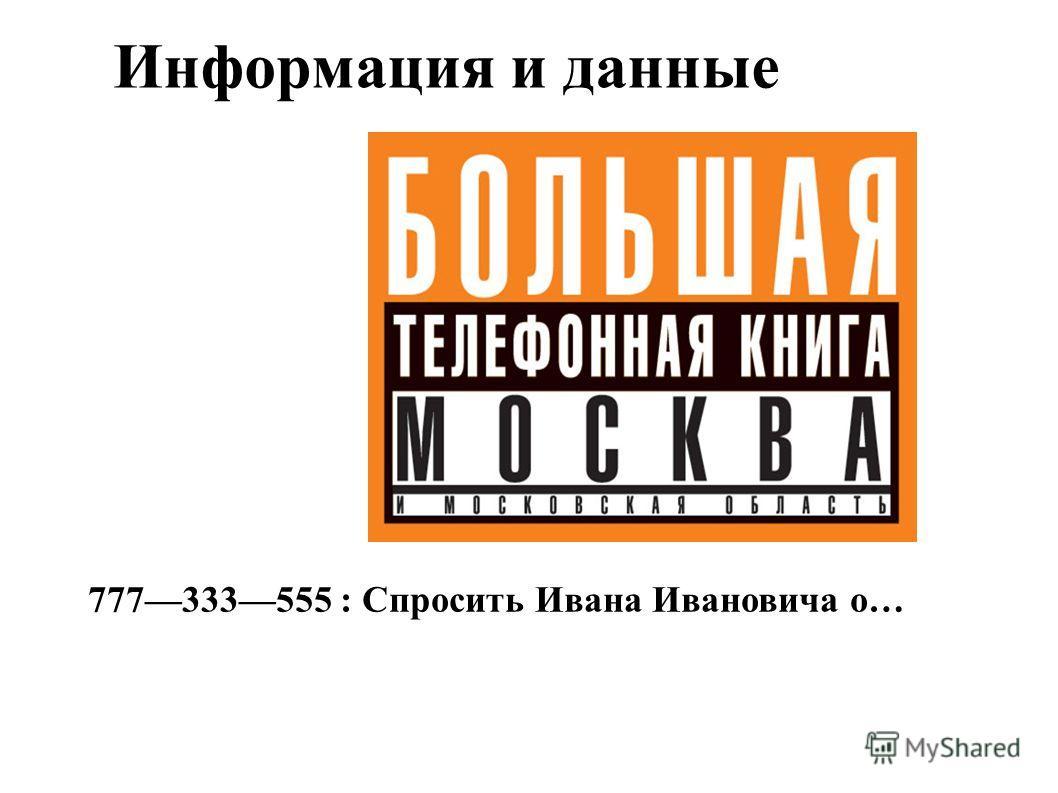 Информация и данные 777333555 : Спросить Ивана Ивановича о…