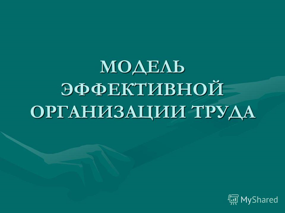 МОДЕЛЬ ЭФФЕКТИВНОЙ ОРГАНИЗАЦИИ ТРУДА