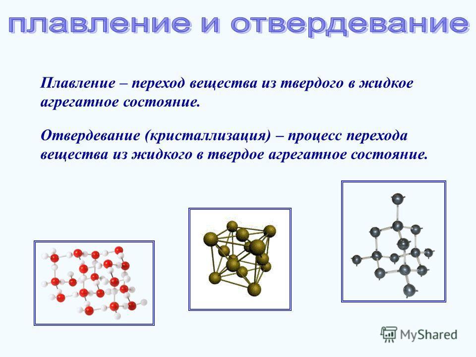 Плавление – переход вещества из твердого в жидкое агрегатное состояние. Отвердевание (кристаллизация) – процесс перехода вещества из жидкого в твердое агрегатное состояние.