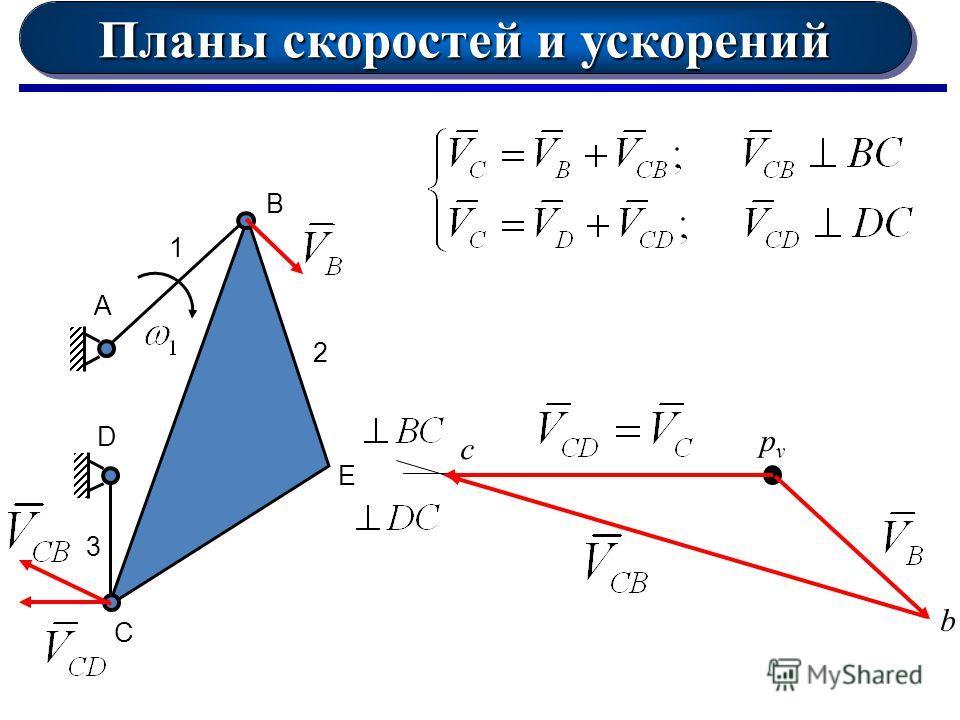 Планы скоростей и ускорений А 1 D B E C 2 3 pvpv b c